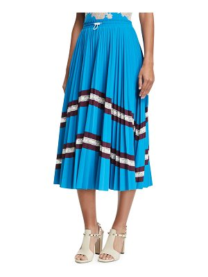 Valentino Jersey Lycra® Plisse Midi Skirt with Lace