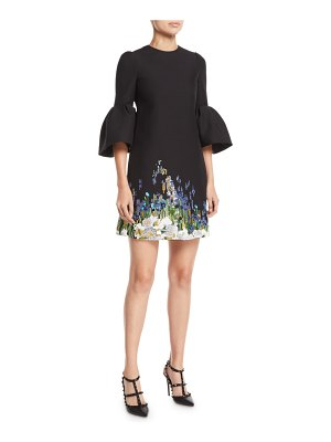 Valentino Jewel-Neck 3/4 Bell-Sleeve A-Line Crepe Cocktail Dress w/ Beaded Floral Embroidery