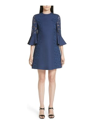 Valentino lace & crepe couture bell sleeve dress