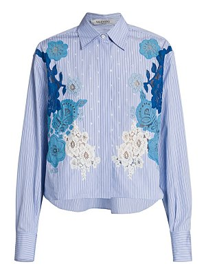 Valentino lace pinstripe cropped button-down shirt