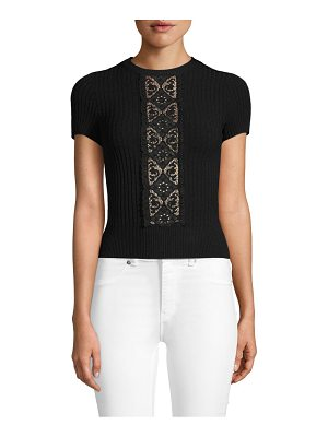 Valentino Lace Short-Sleeve Sweater