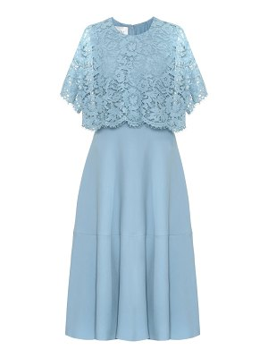 Valentino lace-trimmed silk and wool midi dress