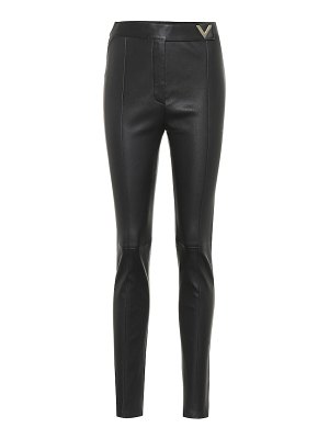 Valentino leather high-rise skinny pants