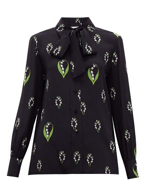 Valentino lily of the valley print pussy bow silk blouse