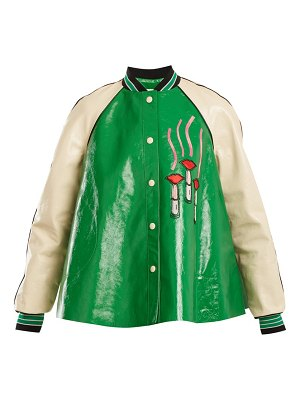 Valentino lipstick appliqué contrast sleeve leather jacket