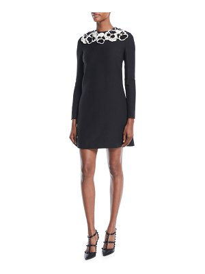 Valentino Long-Sleeve A-Line Crepe Couture Cocktail Dress w/ Sequin Floral Embroidery