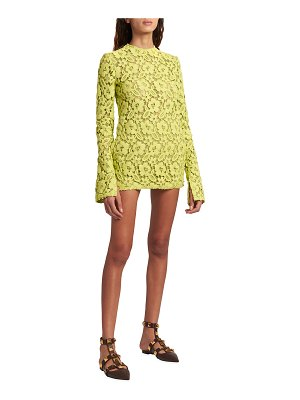 Valentino Long-Sleeve Crochet Mini Dress