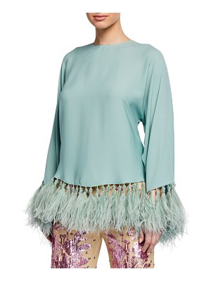 Valentino Long-Sleeve Georgette Feather Hem Blouse