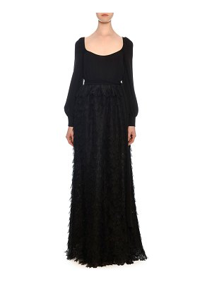 Valentino Long-Sleeve Organza Scoop-Neck Leaf Lace Gown