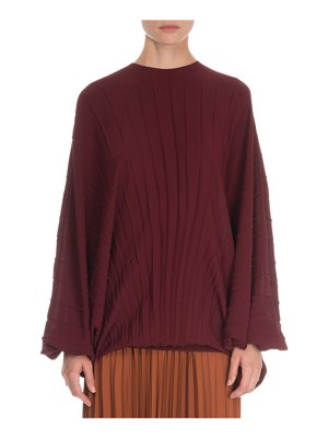 Valentino Long Sleeve Plisse Georgette Blouse