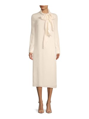Valentino Long-Sleeve Silk Midi Dress