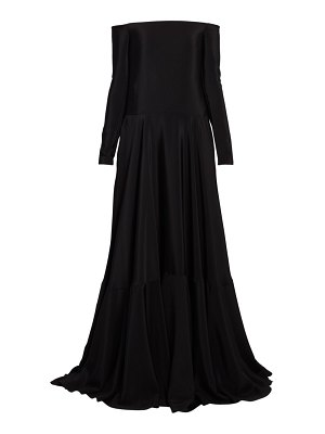 Valentino long-sleeve silk off-the-shoulder gown