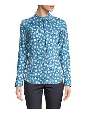 Valentino Long-Sleeve Star Silk Blouse