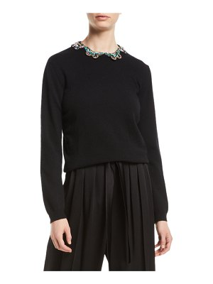 Valentino Long-Sleeve Wool-Silk Sweater w/ Embroidered Butterfly Neck