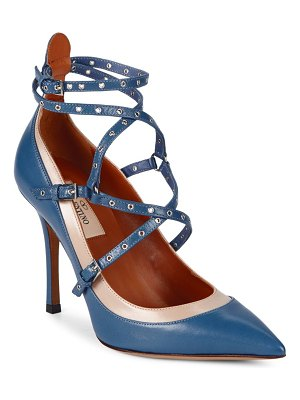 Valentino Love Latch Ankle-Strap Leather Pumps
