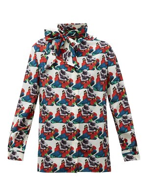 Valentino lovers print pussy bow silk blouse