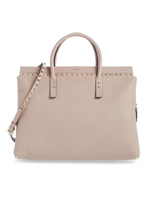 Valentino medium rockstud double handle leather satchel