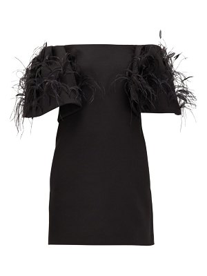 Valentino off-the-shoulder feather-trimmed wool-blend dress