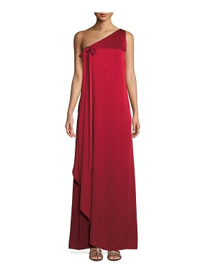 Valentino One-Shoulder Hammered Satin Gown w/ Draped Front
