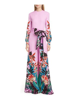 Valentino orchid print long sleeve wide leg silk cady jumpsuit
