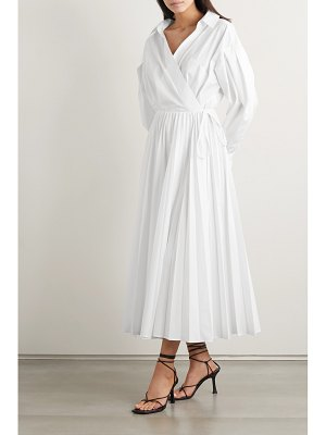 Valentino pleated cotton-blend poplin shirt dress