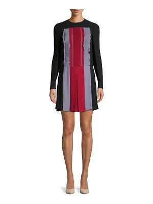 Valentino Pleated Long-Sleeve Silk Dress