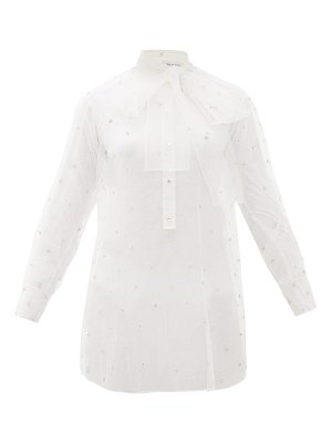 Valentino pussy-bow crystal-embellished tulle blouse