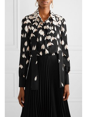 Valentino pussy-bow floral-print silk crepe de chine blouse