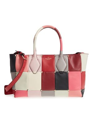 Valentino puzzlestud small patchwork leather tote