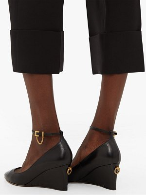 Valentino ringstud pointed leather wedge pumps
