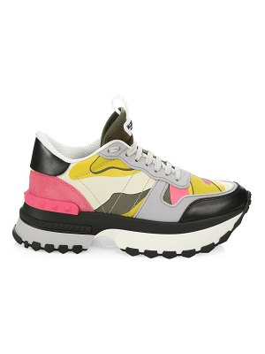 Valentino rock runner platform camouflage leather sneakers