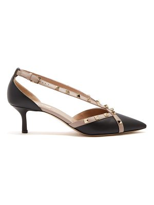 Valentino Rockstud cross-strap leather pumps