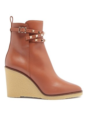 Valentino rockstud leather wedge ankle boots