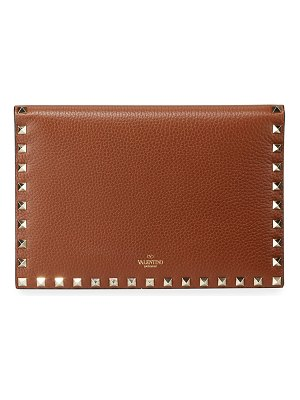 Valentino Rockstud Medium Flat Folded Leather Clutch Bag