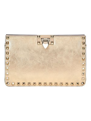 Valentino Rockstud Metallic Crackle Leather Clutch Bag