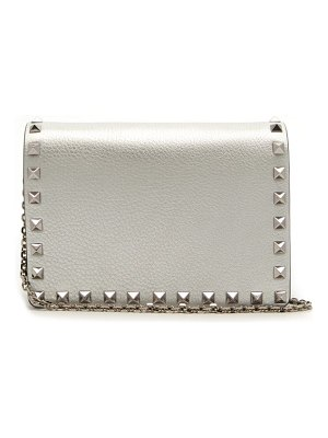 Valentino rockstud metallic grained leather clutch