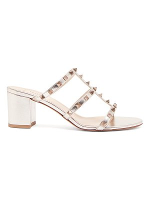 Valentino rockstud metallic-leather mules