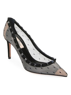 Valentino Rockstud Pointed-Toe Point d'Esprit Mesh Pumps