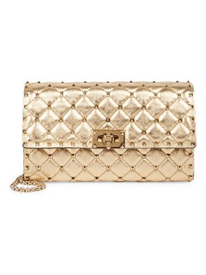 Valentino rockstud quilted metallic-leather chain clutch