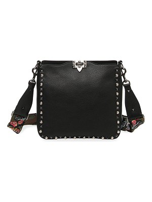 Valentino Rockstud Rolling Noir Guitar Small Messenger Hobo Bag