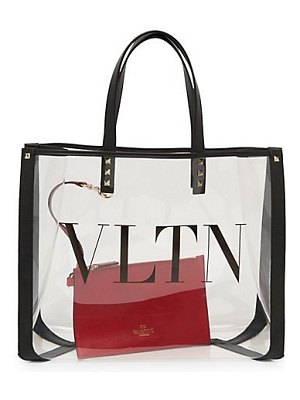 Valentino rockstud small clear tote bag duo