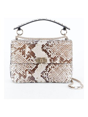 Valentino Rockstud Spike Medium Python Shoulder Bag