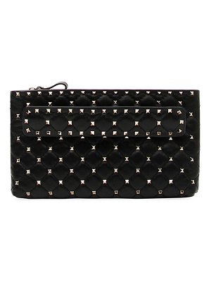Valentino Rockstud Spike Quilted Leather Clutch Bag