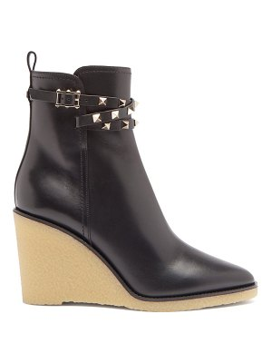 Valentino rockstud wedge-heel leather ankle boots