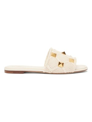 Valentino roman stud knitted-strap leather slides