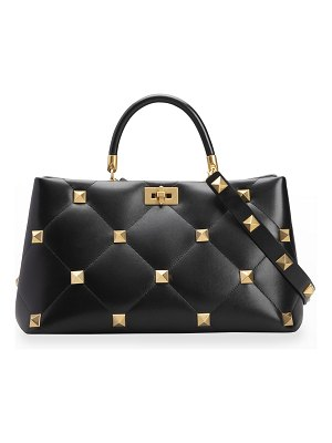 Valentino Roman Stud Quilted Large Top-Handle Bag