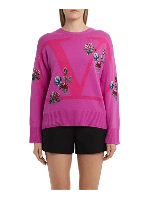Valentino rose applique logo cashmere sweater