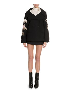 Valentino Rose Embroidered Open-Collar Coat