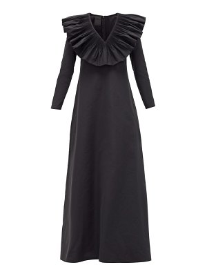 Valentino ruffle-neck cotton-blend faille gown