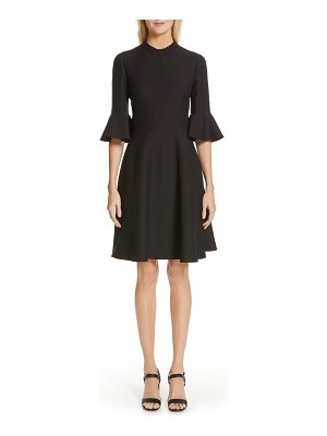 Valentino ruffle sleeve crepe dress